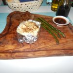 Steak with asparagus and jacket potato