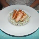 Salmon with tagliatelle