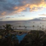 Watching the sunset from our oceanfront room