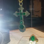 Emerald and diamond cross and ring