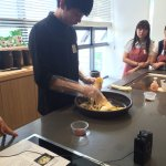 The chef demonstrating how to make kimchi