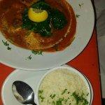 Prawn Pili Pili - my wife LOVED it! Very mildly spiced!