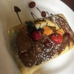The especiale crepe with orange juice. Packed with fresh fruit and Nutella.