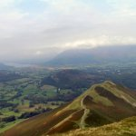 Bassenthwaite on left and top of Derwentwater on right from the top of Cat Bells