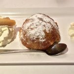 Appledumpling with cinnamon icecream. TIP: Ask them to bring a fork as well!
