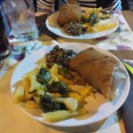 Cachopo de Ternera (dividido en dos platos porque era para compartir y nos lo prepararon así)