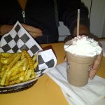 Chocolate Malted, Cheeseburger and Fries