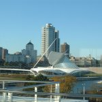 "The Milwaukee Art Museum Quadracci Pavilion seeing from its exterior & with the ""Brise Soleil"" o"