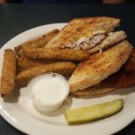 Philly cheese steak with homemade chips & grouper reuben with fried pickles