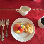 Fruit plate with Georgia peach muffin