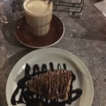 Yummy Lobster tail dessert with Nutella spread accompanied by a delicious light latte!