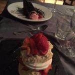 fudge cake and strawberry merangue