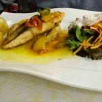 Lachs+Zander, sowie Rumpsteak mit Gemüse und Pfeffersauce