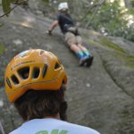 Our guide belaying our son.