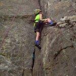 Climbing the crag.