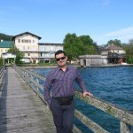 on attersee lake bridge - near the hotel