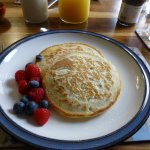 Fresh berries with pancakes was one option for breakfast