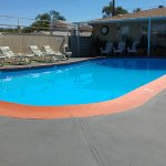 Pool, loungers and owners place at the end