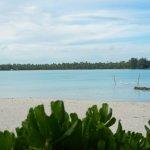 A hammock in the water, near the main beach