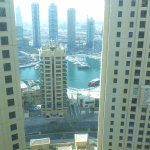 view from the lift lobby round the back to the Dubai Marina.