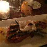 Tempura Asparagus with poached egg and chorizo and an amazing Old Fashioned!