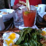 flat bread and bloody mary