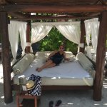 Covered cabanas at Royal Suites private beach area