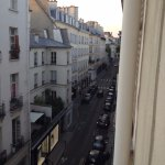 View from the 4th floor up the Rue de Siene