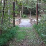 Bridge to short loop trail across creek in front of house.