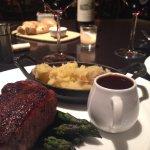 perfectly cooked steak, beautiful ambiance, AMAZING wine selection