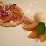 Plum tart and almond ice cream.