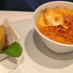 Creme brûlée and passion fruit sorbet