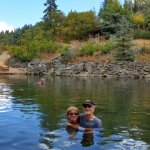 In a pool at Straweberry Park Hot Springs in Steanboat Springs, CO