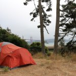 View of the bridge in the fog from Site #2 (Kirby Cove Campground)