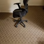 The chair in the room.  Tilted forward to expel you to the floor.   Very uncomfortable room.