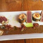Ahi Tuna has 4 wedges and 3 rolls - sorry I was hungry!