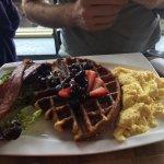 Japanese Breakfast, Liege Waffle with Scrambled Eggs & Bacon, Pomegranate Glazed BBQ Pork Ribs H