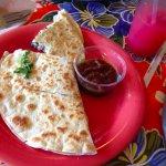 Mushroom quesadilla with sauce