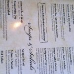menu appetizer, soups, salads