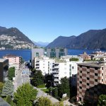 Lago di Lugano from a sixth floor terrace of the Hotel de la Paix.