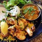 Yogurt Chicken, vegetable korma, saffron rice, salad.