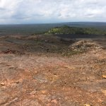 Pu'u Huluhulu from Mauna Ulu. See Halema Uma'u smoke in distance