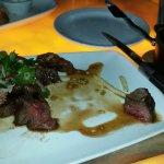 Hangar steak with wild mushrooms