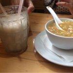Manchow soup and banana milkshake