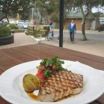 Grilled swordfish and pickled carrot salad.