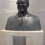 A bust of the Hotel Group late Owner proudly display in the lobby