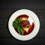 Eye fillet mignon with mash, green beans, garlic spinach and red wine jus (GF)