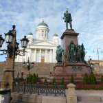 Statue of Tsar Alexander II and Helsinki Cathedral