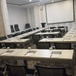 Wallpapered conference and meeting rooms