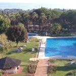 Habitacion 519. Restaurante. Buffet desayuno y piscina exterior con sus jardines